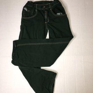 Charlie Rocket green cotton jeans pants sz 12 (H)